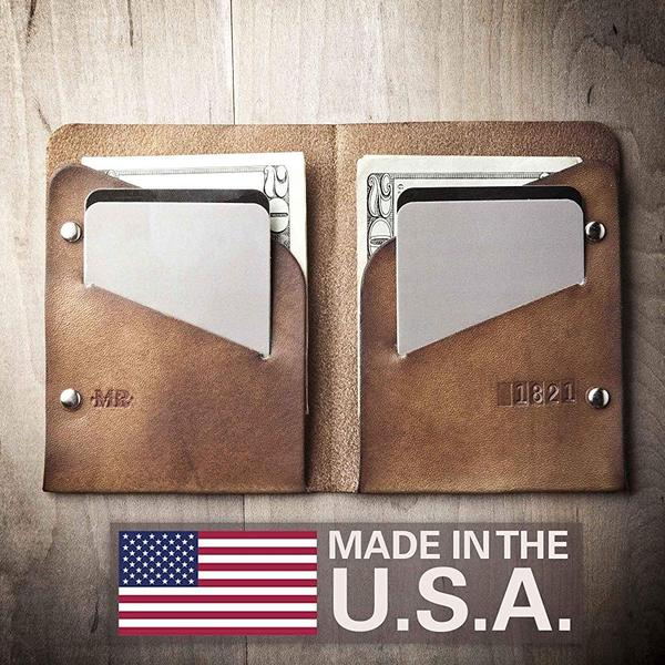 Personalized Slim Leather Wallet - Bifold (Made in the USA by Mr Lentz) 005