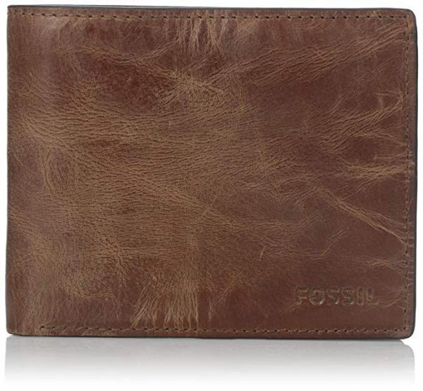 Fossil Men's Derrick Leather RFID Blocking Bifold Flip ID Wallet