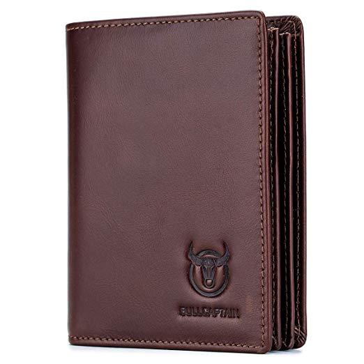 Bullcaptain Large Capacity Genuine Leather Bifold Wallet/Credit Card Holder