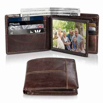 Best Gift For Father: Swallowmall Mens Wallet RFIDGenuine LeatherSlim Bifold Wallets For Men, ID Window 16 Card Holders Gift Box