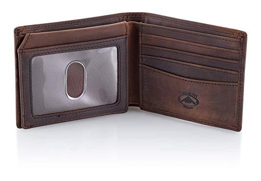 Best with ID Viewer: Stealth Mode Leather Bifold Wallet for Men With ID Window and RFID Blocking
