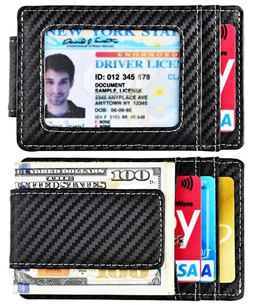Best Money Clip: kinzd Slim Carbon Fiber Money Clip Wallet
