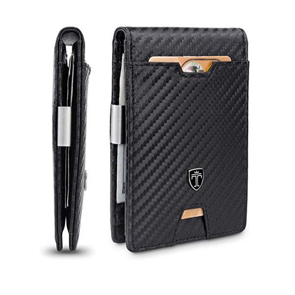 Best Front Pocket: TRAVANDO Carbon Fiber Wallet with Money Clip