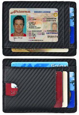 Best Slim: Spiex Slim Wallet Front Pocket Minimalist Carbon fiber RFID Blocking Card Holder