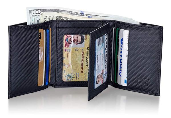Best Trifold: Stealth Mode Carbon Fiber Trifold RFID Wallet For Men With Flip Out ID Holder