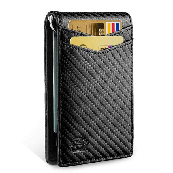 Best Bifold: Zitahli Minimalist Carbon Fiber Slim Bifold Front Pocket Wallet with Money Clip for men
