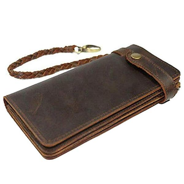 Best Value: Itslife Men's RFID BLOCKING Brown Bifold Vintage Hand Made Leather Chain Wallet