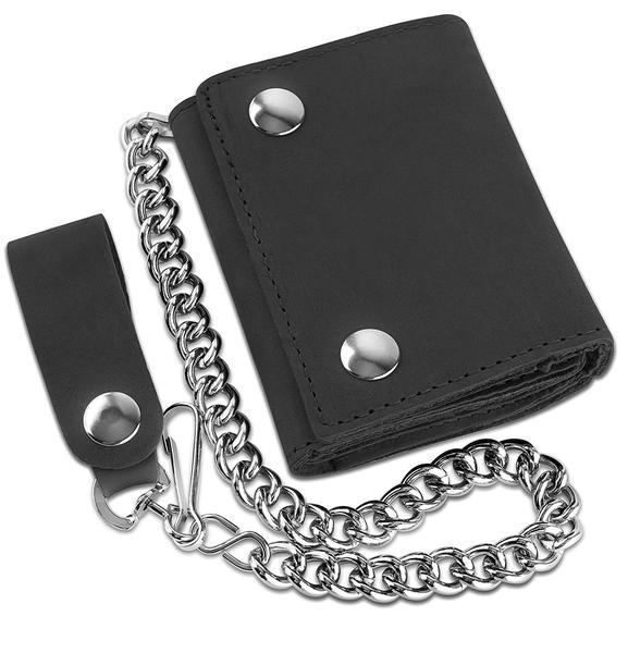 Best for Biker: F&L CLASSIC RFID Blocking Men's Trifold Chain Wallet