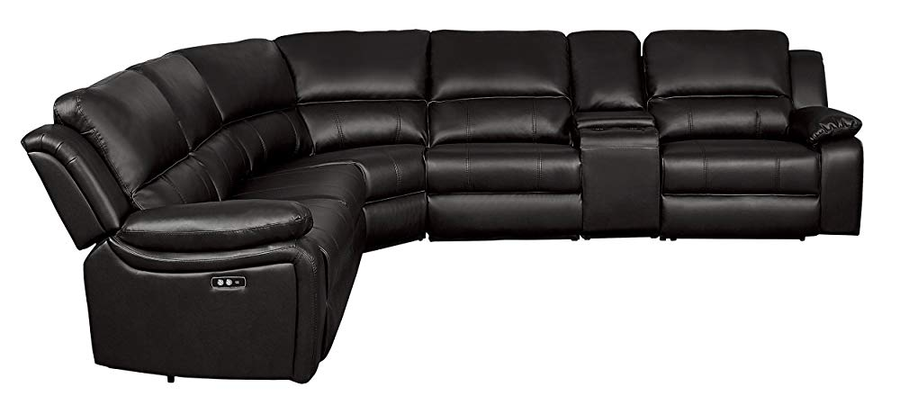 "Homelegance 8260DB6PW Power Reclining Sectional Sofa with Storage Console, 120"" X 136"", Dark Brown Faux Leather"