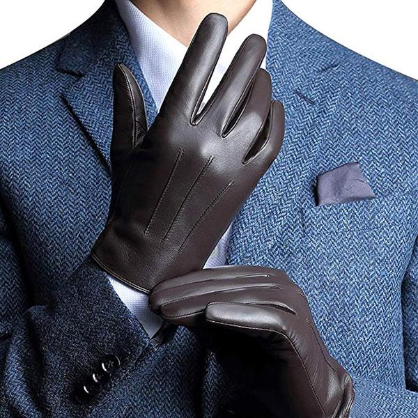 Best Value: Harrms Leather Gloves for Mens, Full-Hand Touchscreen Gift Packaging Cold Weather Gloves