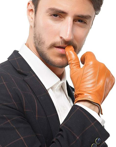 Best Design:Nappaglo Men's Genuine Touchscreen Nappa Leather Gloves Driving Winter Warm Mittens