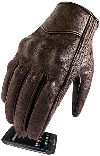 Best Racing Glove: Superbike Men's Brown Leather Motorcycle Gloves With Touchscreen Finger and Knuckle Protector Motor Racing Gloves (XL, Brown,Perforated)