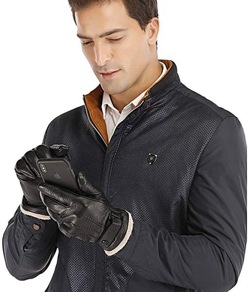 Best Touchscreen:Acdyion Mens Genuine Leather Gloves Winter - Acdyion Touchscreen Cashmere/Wool Lined Warm Dress Driving Gloves