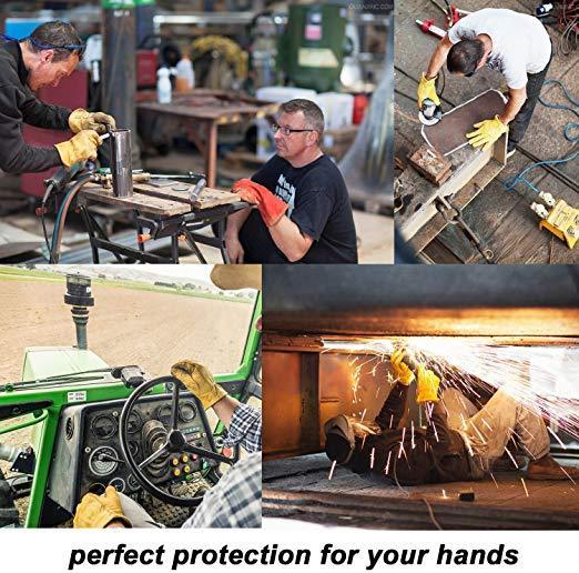 Best Work Glove:OZERO Flex Grip Leather Work Gloves Stretchable Wrist Tough Cowhide Working Glove 1 Pair (Gold, Large)