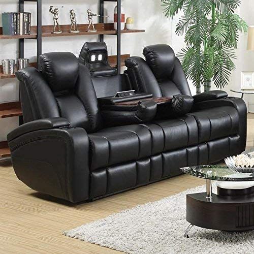 Best Design: Delange Reclining Power Sofa with Adjustable Headrests and Storage in Armrests Black
