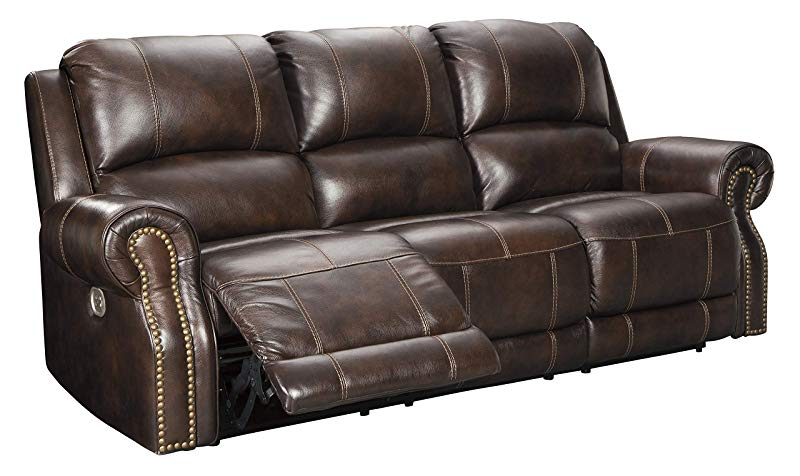 Signature Design by Ashley Buncrana Power Reclining Sofa, Chocolate