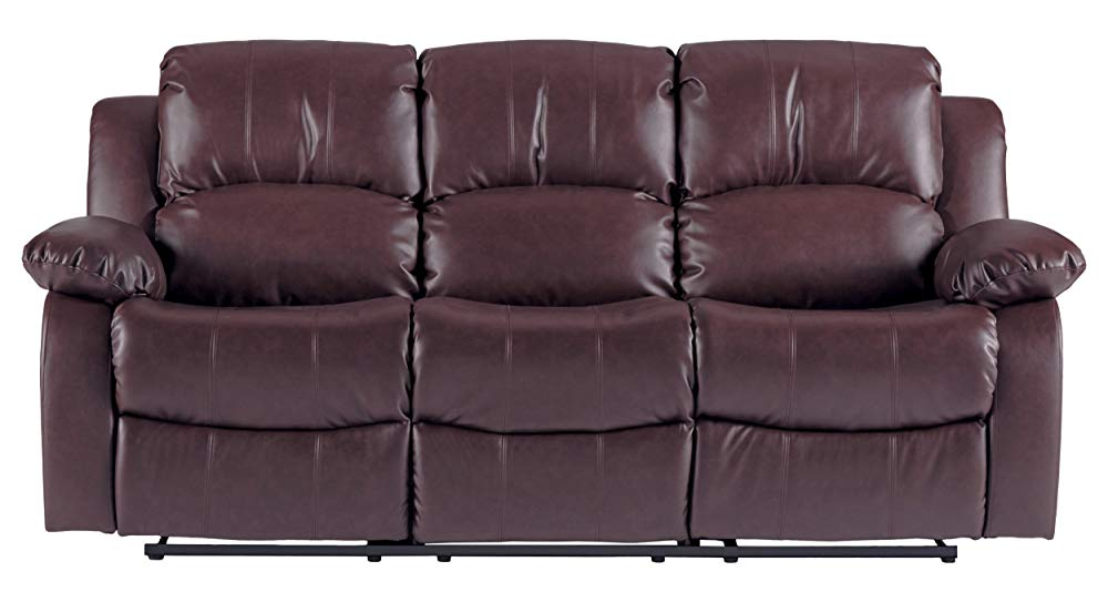 "Best Brown: Homelegance Resonance 83"" Bonded Leather Double Reclining Sofa, Brown"