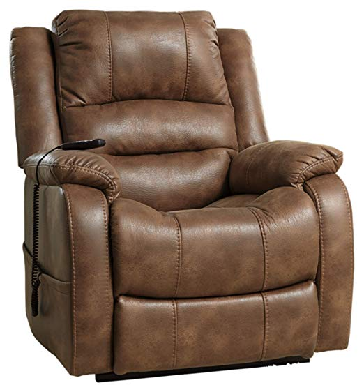 Best Comfortable: Signature Design by Ashley - Yandel Power Lift Recliner - Contemporary Reclining - Faux Leather Upholstery - Saddle