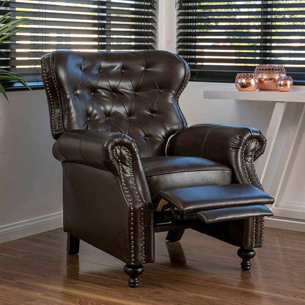 Best Classic: Christopher Knight Home Deal Furniture Waldo Brown Leather Recliner Club Chair