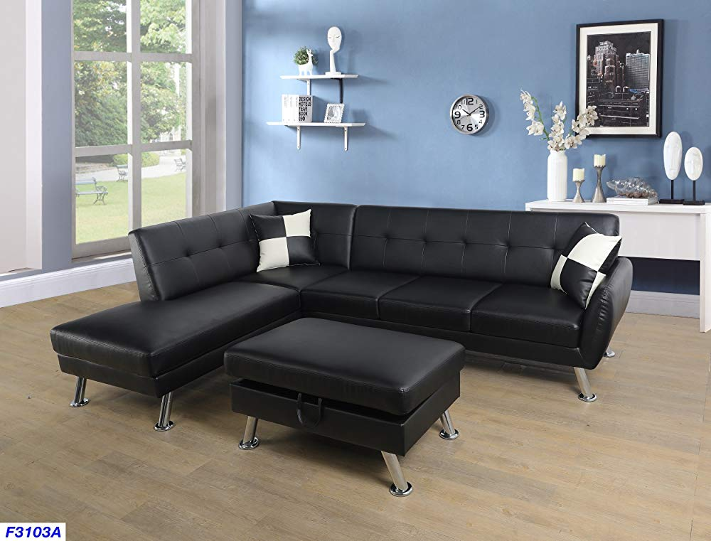 Best  Flash Furniture Harmony Series Black Leather Loveseat with Two Built-In Recliners