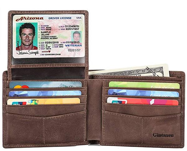 Best with ID Viewer: GintaXen Mens Leather Bifold Wallet with 2 ID Window