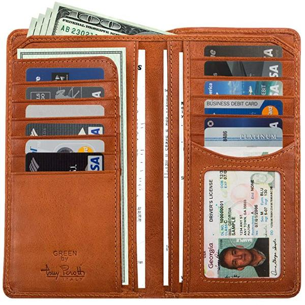 Best for Organization: Large Leather Bifold Wallet Breast Pocket Checkbook Organizer with ID Window Multi Business & Credit Card Slots for Men and Women made with Real Italian Cowhide Leather by Tony Perotti