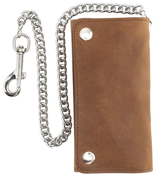 Best Chain: F&L CLASSIC RFID Blocking Men's Tri-fold Vintage cow Leather W/Chain card holder Wallet,USA
