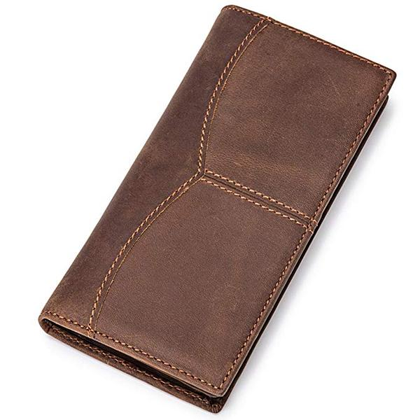 Best Slim: Itslife Men's RFID BLOCKING Vintage Look Genuine Leather Long Bifold Wallet Rfid Checkbook Wallets
