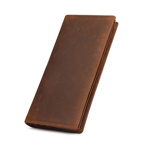 Best Mid-Range: Kattee Men's Vintage Genuine Leather Long Wallet for Checkbook, Credit Cards