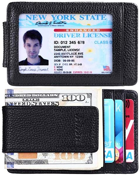 Best Overall: Kinzd Money Clip, Front Pocket Wallet, Leather RFID Blocking Strong Magnet thin Wallet
