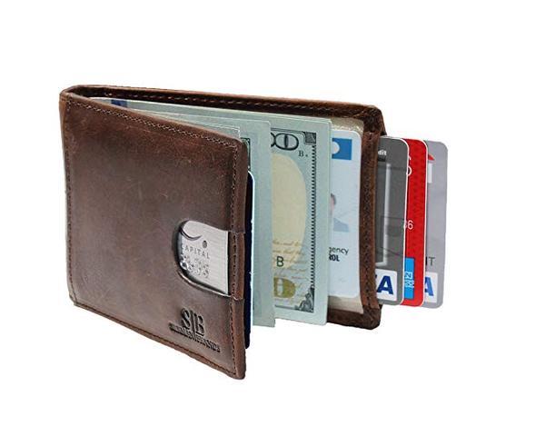 Best Slim Bifold: SERMAN BRANDS RFID Blocking Slim Bifold Genuine Leather Minimalist Front Pocket Wallets for Men with Money Clip