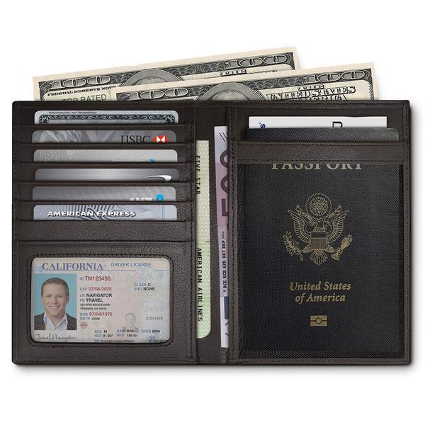 Best for Travel: RFID Blocking Leather Passport Holder For Men and Women - Black by Travel Navigator