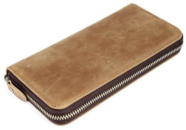 Best Budget: KinzdMens Genuine Leather Long Wallet with Zipper RFID Blocking Vintage Bifold
