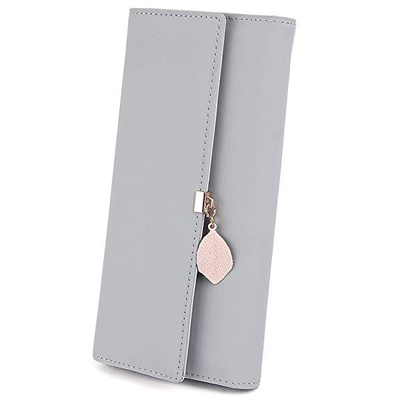 Best for Vegan:UTO Wallet for Women PU Leather Leaf Pendant Card Holder Phone Checkbook Organizer Zipper Coin Purse