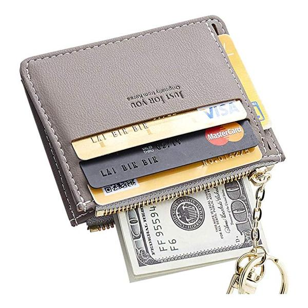 Best with Keychain: Cyanb Slim Leather Card Case Holder for Women