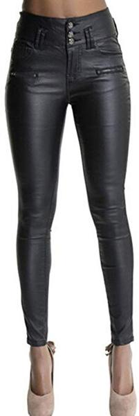 Best Design: Ecupper Womens Black Faux Leather Leggings