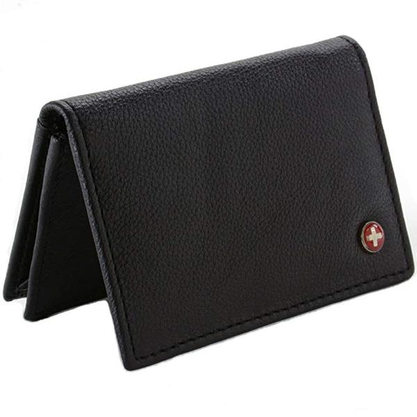 Best Leather Bifold: Alpine Swiss Genuine Leather Thin Business Card Holder