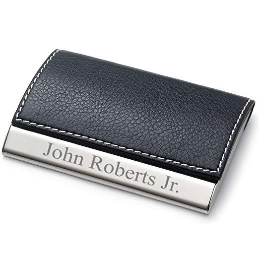 Best Personalized: Personalized Leatherette Business Card Holder - Free Engraving