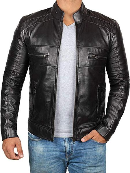 Best Overall: Decrum  Brown Faux Leather Jacket for Men