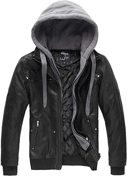 Best Design: Wantdo Men's Faux Leather Jacket with Removable Hood
