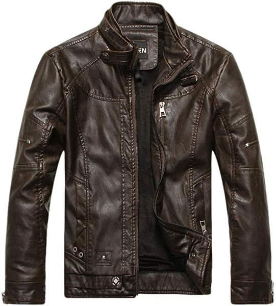 Best Vintage: chouyatou Men's Vintage Stand Collar Faux Leather Jacket
