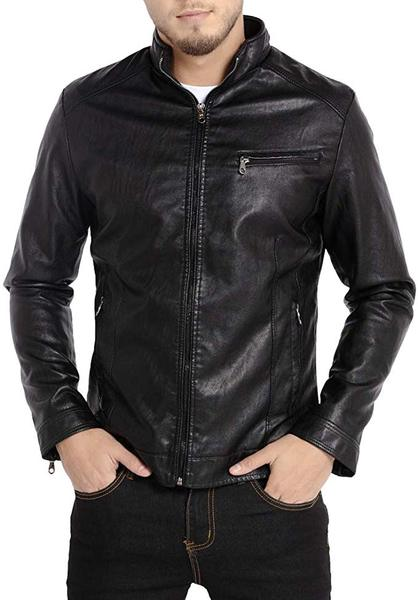 Best Lightweight: WULFUL Men's Stand Collar Faux Leather Jacket