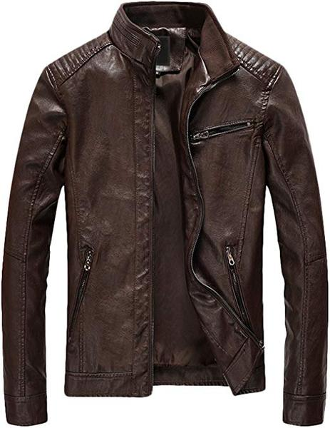 Best Bomber: Youhan Men's Casual Zip Up Faux Leather Jacket