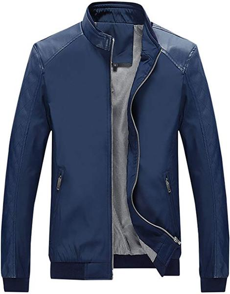 Best Casual: Springrain Men's Casual Stand Collar Slim Faux Leather Jacket