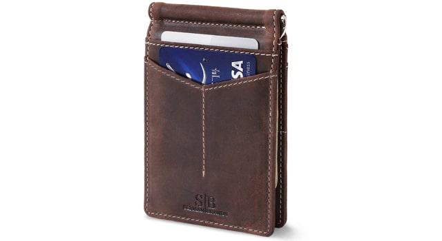 SERMAN BRANDS Slim Bifold Leather Front Pocket Wallet