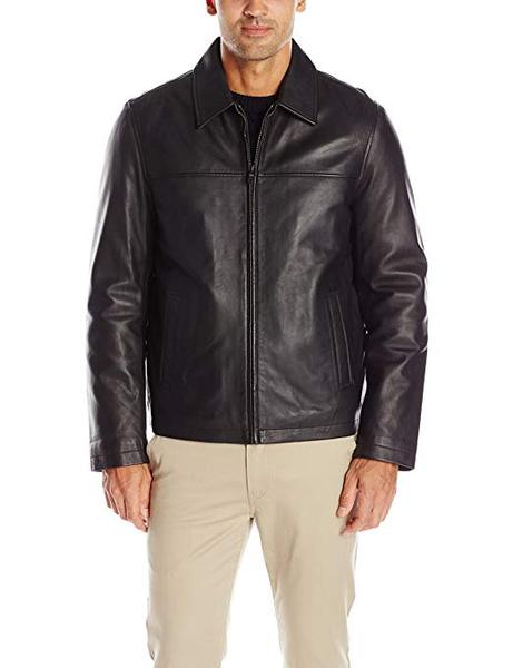 Best High-quality:Tommy Hilfiger Men's Smooth Lamb Leather Laydown Collar Open Bottom Jacket