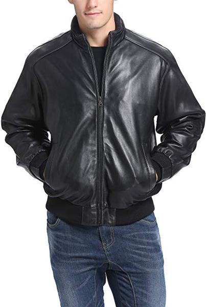 Best Lambskin Leather: BGSD Men's Black Lambskin Leather Bomber Jacket