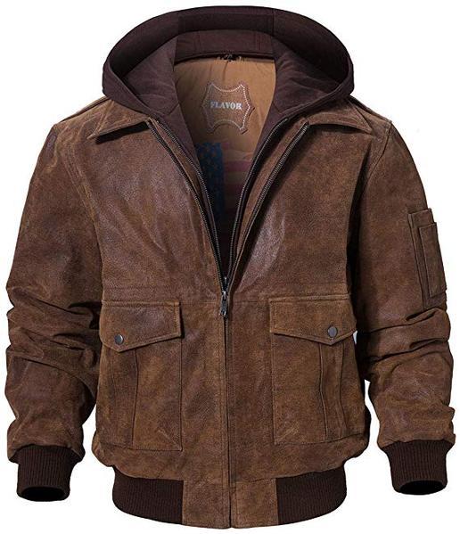 Best Retro: FLAVOR Men's Leather Flight Bomber Jacket