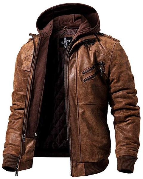 Best for Motorcycle:FLAVOR Men Brown Leather Motorcycle Jacket with Removable Hood