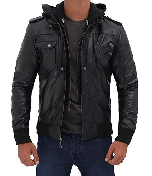 Best with Removable Hood: Decrum Leather Bomber Jacket with Hood